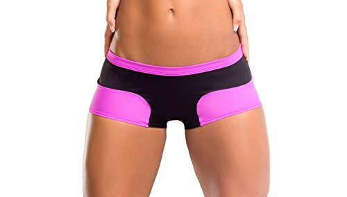 BodyZone Apparel Yoga & Fitness Daphne Two-Tone Short. Black/Fuchsia. Small/Medium. Made in the USA.