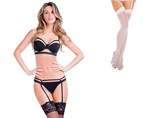 Bundle 2 Items: Oh la la cheri Bandage Bra Adj Straps Black M and Sheer Thigh M25W