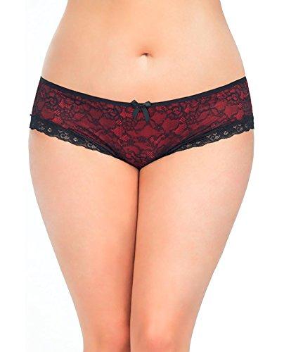 Oh la la cheri Cage Back Lace Panty Black/Red 1X/2X