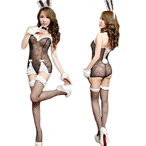 Hanerdun Womens Sexy Lingerie Naughty Bunny Uniform Rabbit Outfit, Black, One Size