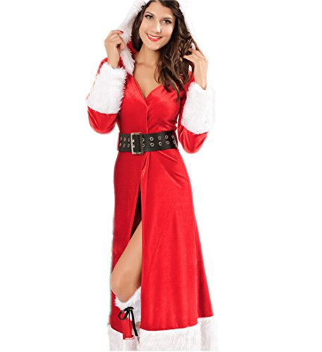 Papaya Wear Santa Helper Costume Christmas Cape Hooded Cloak Dress
