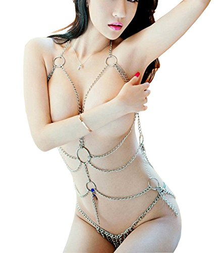SexTime Enticing Women's Cross Tassel Body Link Harness Metal Silver Chain Sexy Lingerie Set