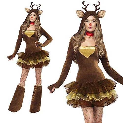 MARIAN Christmas Reindeer Costumes Sexy Xmas Party Suit for Women