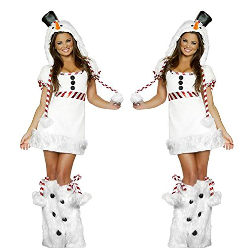 MARIAN Sexy Christmas Snowman Costumes Xmas Party Suit for Women with Hat