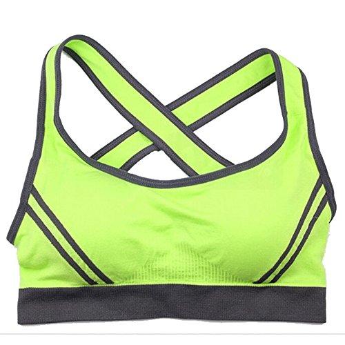 Sexy Womens Push Up Padded Sports Bra Running Aerobics Gym Dance Yoga Vest(Lable S Fluorescent Green)