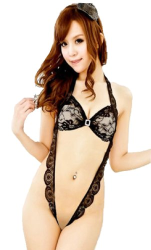 Super Sexy Lingerie Hang Neck Lace Edge Three Point Style Open Crotch Teddies (black)