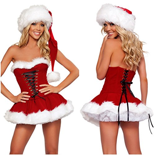 Hisionlee Woman's Sexy Red Outfit Customes Naughty Sweet Santa Dress Lingerie