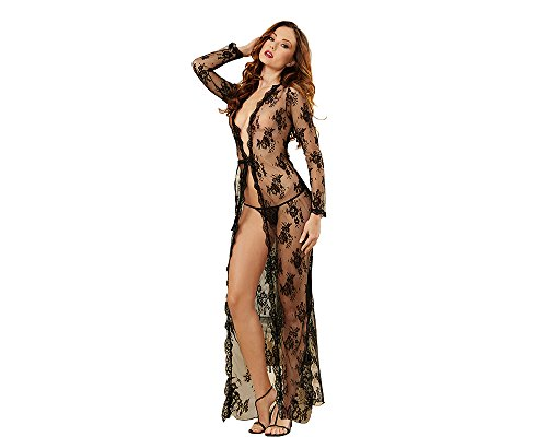Sexy Black Lace Lingerie Sleepwear for Women Long Robe for Party with G-String Set