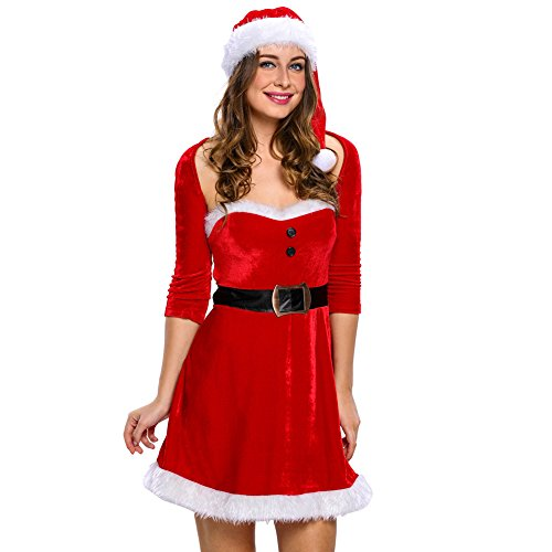 Papaya Wear Mrs Santa Helper Christmas Costume Dress for Women
