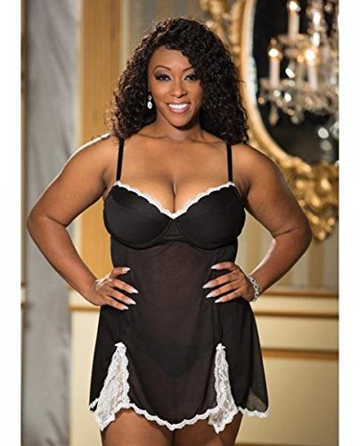 Super Soft Poly Rayon Chemise and G-String Black 2X