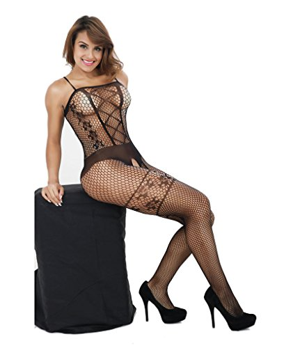 Deksias Sexy Strappy Fishnet Bodystockings Plus Size Crotchless Bodysuit for Women