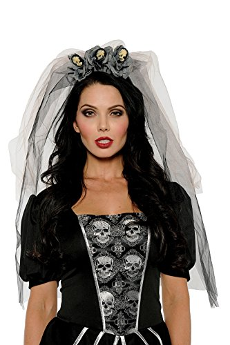 Women's Dead Bride Costume – Skull Cameo Veil