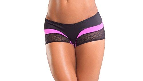BodyZone Apparel Yoga & Fitness Rainbow Two-Tone Scrunch Back Short. Black/Fuchsia. Small/Medium. Made in the USA.