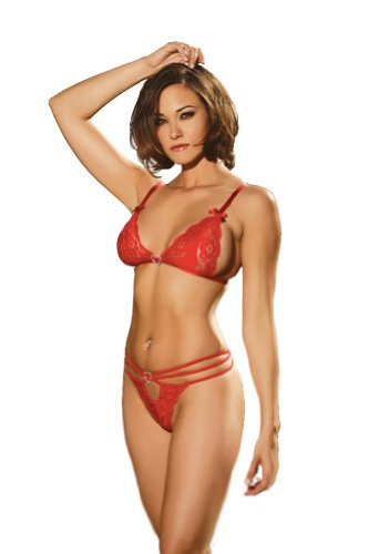 Elegant Moments Women's Lace String Bra Set, Red, OS
