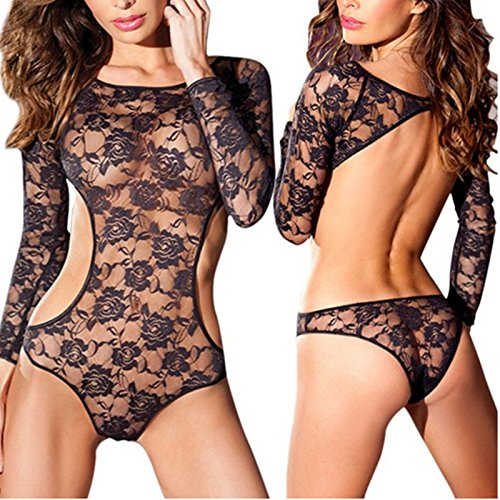 AnHua® Women Sexy Erotic Lingerie Long Lace Bodysuit Nightwear Sleeve Fishnet Backless Dress