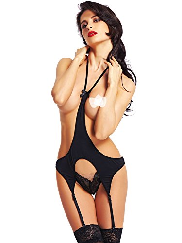 Amoretu Womens Lingerie Backless Teddy Halter Front Bodysuits Black