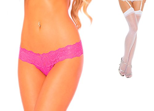 Bundle of P. Lipstick Fancy Schmancy Lace Thong Pink M/L and Sheer Wht