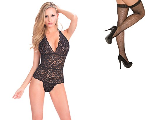 Bundle 2 Items: Oh la la cheri Halter Lace Teddy Snap Crotch Black O/S and Fishnet Stocking M75B