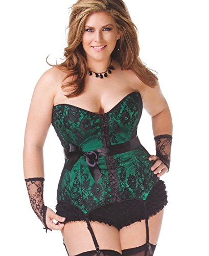 Coquette 1063X Women's Plus Size Lace Over Satin Corset – 1X-2X – Green/Black
