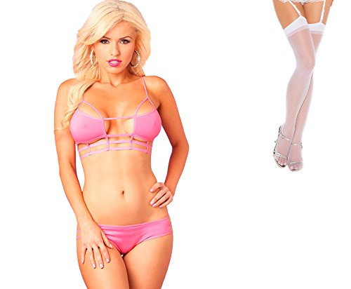 Bundle 2 Items: P Lipstick Microfiber Cage Top Bra & Panty Set Pink S/M and Sheer Thigh M25W