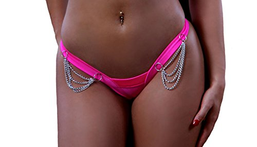 Sexy Comfort V Thong Panties With Chains. Fuchsia. One Size. Made in USA.