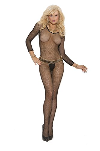 Long Sleeve V Neck Fishnet Bodystocking (Black, Plus Size)