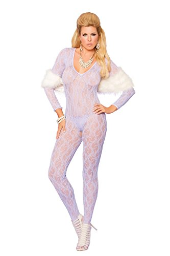 Sexy Plus Size Full Figure Lace Long Sleeve Bodystocking- Fits size 14-18