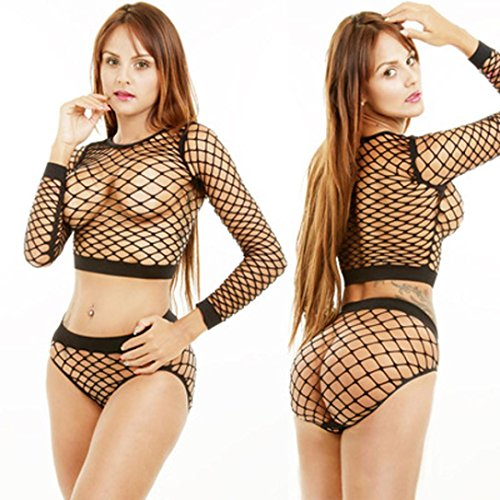 Lingerie Sets, BOKOLI 1Set Women Sexy Underwear Mesh Transparent Hollow Long Sleeve (Free Size, Black O-Neck)