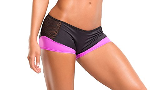 BodyZone Apparel Yoga & Fitness Phoenix Two-Tone Scrunch Back Short. Black/Fuchsia. Small/Medium. Made in the USA.