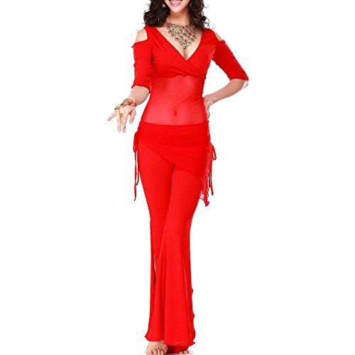 TOOGOO(R)Belly dance costume sexy short sleeves top+milk silk waist pants 2pcs/suit for belly dancing set (red)