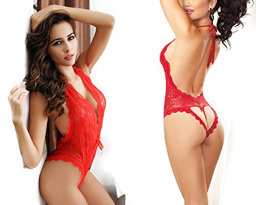 OIZEN Women Sexy Plunging V Halter Lace Lingerie Bodysuit With Mysterious Eyes Cover (Red(without eye mask))