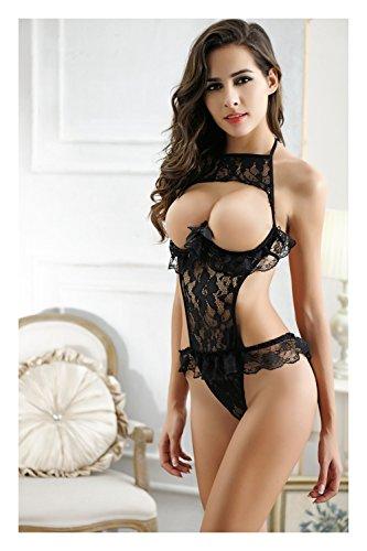 Dearmoon Women Sexy Sling Open Cup Lingerie Sheer Floral Lace Babydoll Bodysuit lingerie