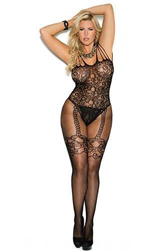 Vimini Women Sexy Lingerie Fishnet Bodystocking Crotchless Plus Size See Through Bodysuit