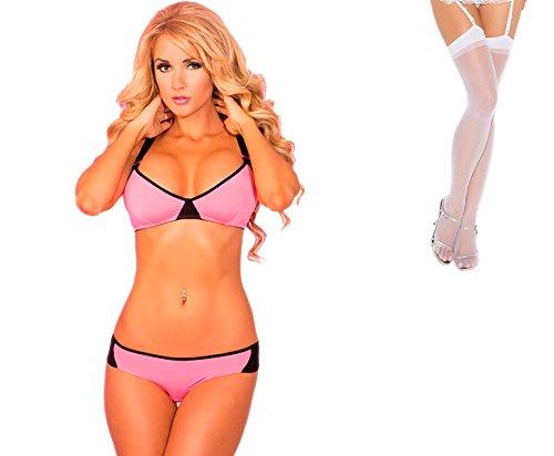 Bundle 2 Items: P Lipstick PL-90 XXX Sport Bra & Panty Set Pink S/M and Sheer Thigh M25W