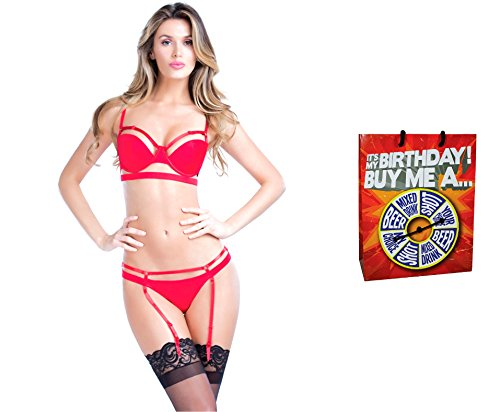 Bundle of Oh la la Cheri Bandage Thong Medium Red with Giftbag Model 34