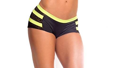 BodyZone Apparel Yoga & Fitness Archer Scrunch Back Short. Black/Neon Yellow. Small/Medium. Made in the USA.