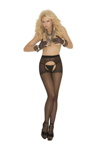 Sheer Crotchless Pantyhose. 1726 (Black,one Size)