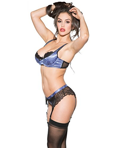 Shirley of Hollywood Lace Lingerie Set Small Peri Winkle