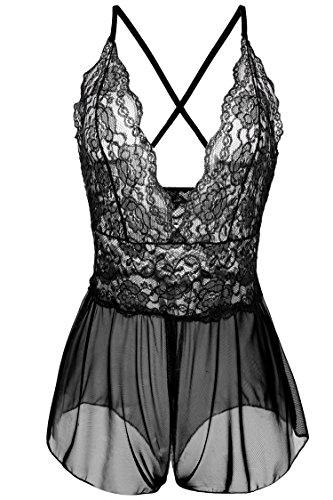 Avidlove Women Sexy Lingerie Lace See-through Babydoll Open Crotch Pant Dress