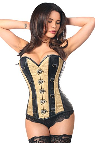 Daisy Corsets Women's Plus Size Top Drawer Brocade and Faux Leather Steel Boned Corset, Gold, 4X