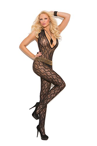 1608 Women's Deep V Lace Bodystocking With Open Crotch_Black_One Size