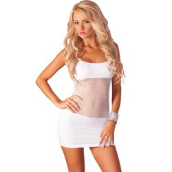 Pink Lipstick Adrenaline Seamless Net Dress, One Size, White