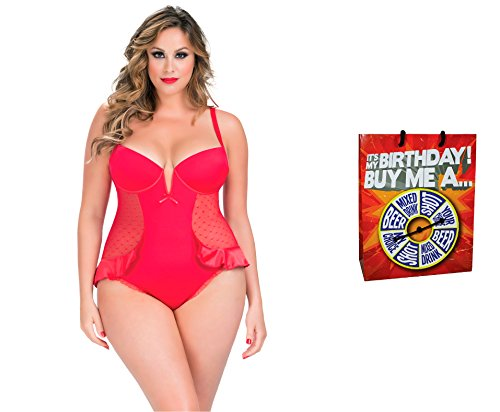 Bundle of Oh la la Cheri Satin Teddy 2X Red with Giftbag Model 34