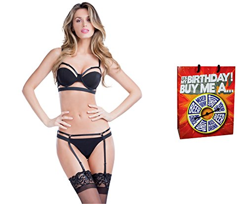 Bundle of Oh la la Cheri Bandage Thong X-Large Black with Giftbag Model 34