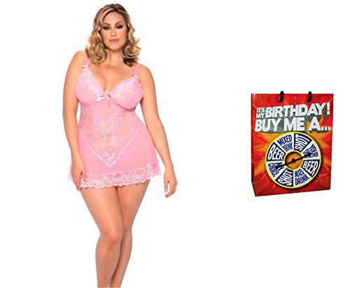 Bundle of Oh la la Cheri Valentines Babydoll Set 4X Pink with Giftbag Model 34