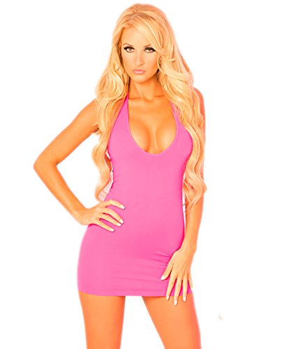 P Lipstick Two-Way Slashed Halter Dress Pink M/L