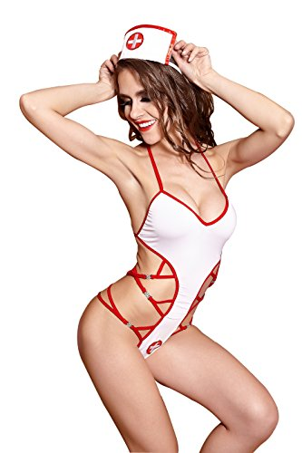 Sexy Lace Erotic Stretch Nurse Babydoll Lingerie Set for Women
