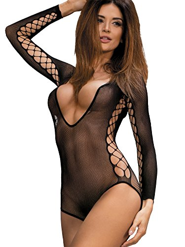 Womens Sexy Net Nightie See Through Seamless Sleeved Cut Out Intimate Hosiery Dress Chemise Bodysuit Teddy Lingerie For Sex