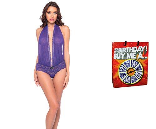 Bundle of Oh la la Cheri V-Plunge Teddy One Size Purple/Black & Giftbag Model 34