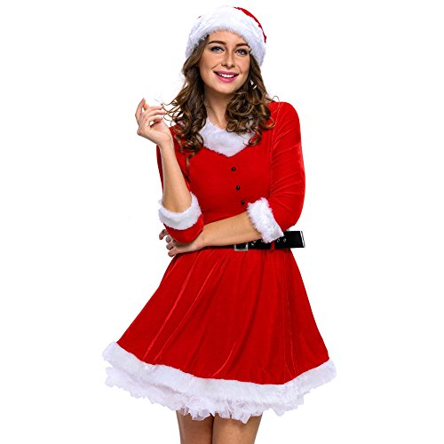 Papaya Wear Mrs Santa Claus Christmas Costume Party Dress for Women